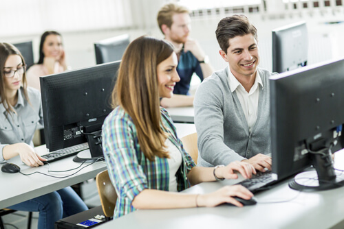 Students in classroom on computers